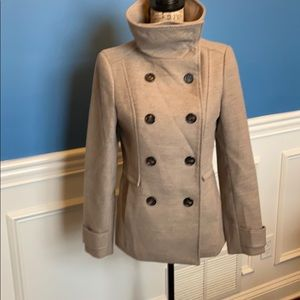 H&M tan double breasted coat ~ Size 6